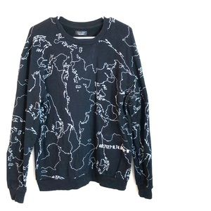 Zara Man 100% Cotton Sweater Map Coordinates